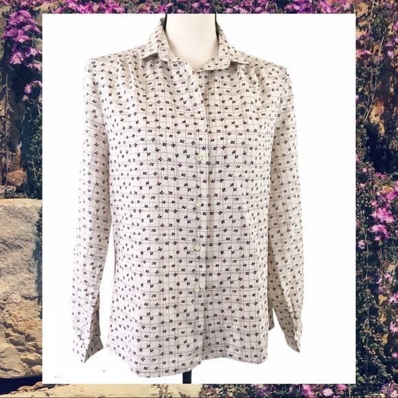 Vintage 70/'s Cream Patterned Shirt